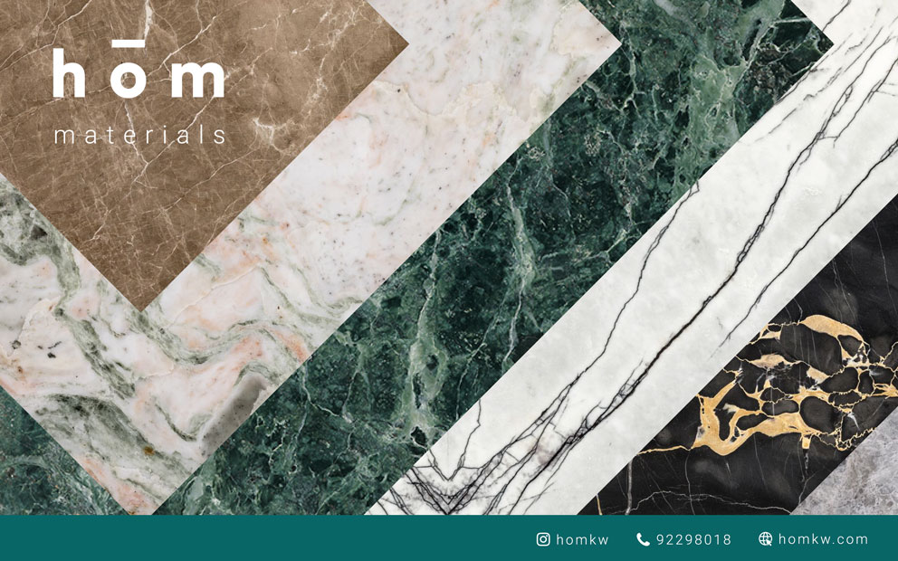 Marble types available from hōm interiors kuwait