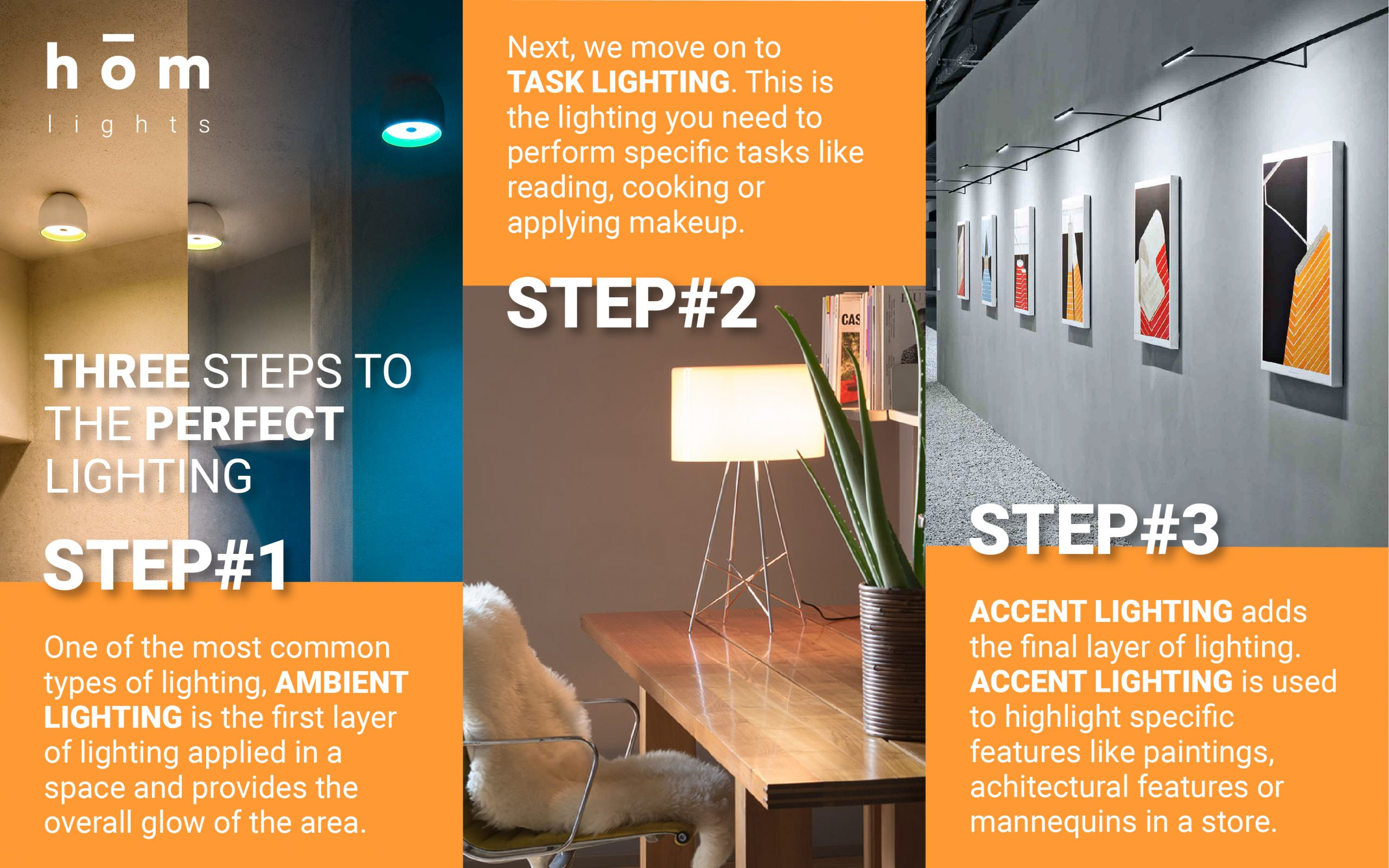 Three Steps to Perfect Lighting - Ambient Lighting - Task Lighting - Accent Lighting